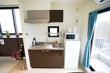 Our apartment comes with a fully equipped kitchen.