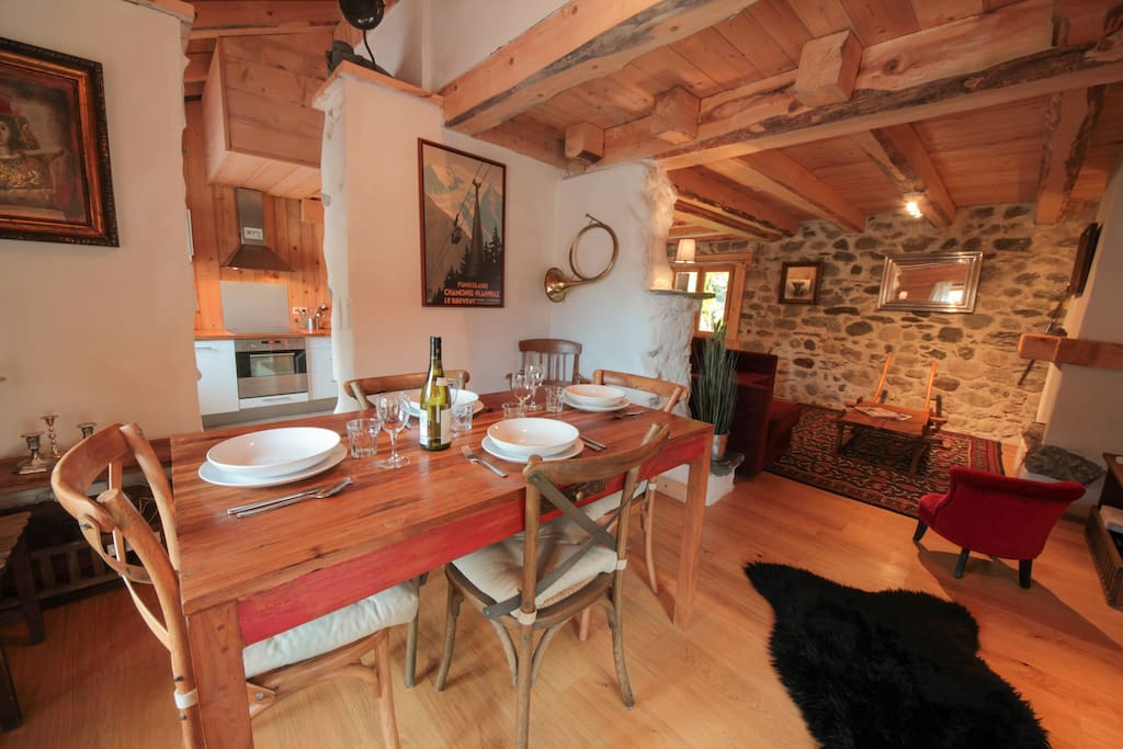 Dining room and living room beyond | Balmat Cottage | Chamonix Chalet to Rent