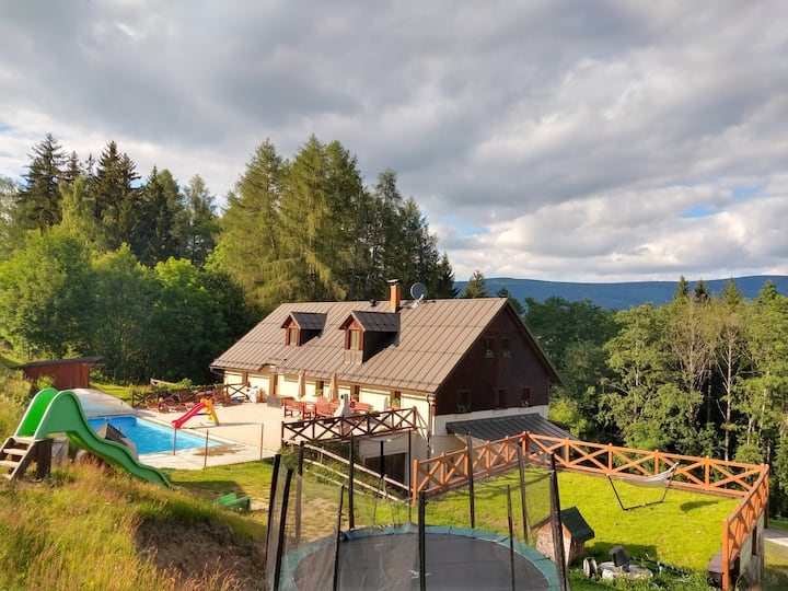 Chalupa Barborka - cozy cottage with pool, sauna