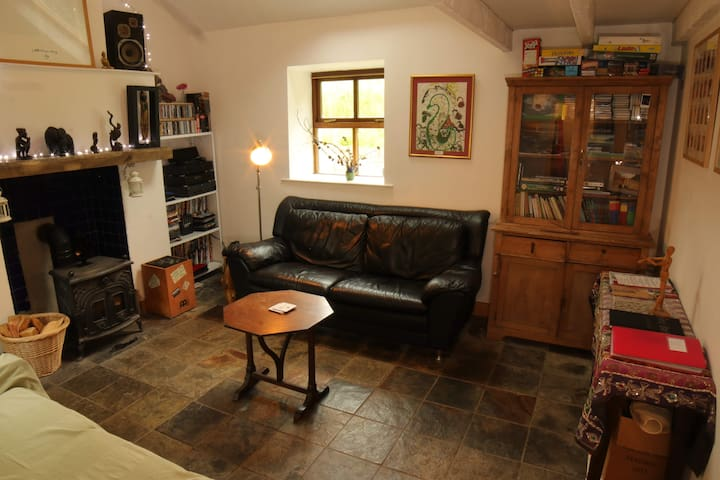 Our cosy living area has an assortment of curiosities available to keep you entertained!