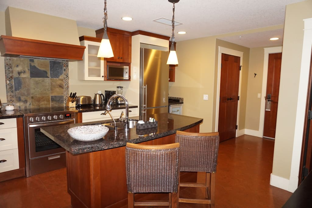High end specifications, European appliances, stainless steel...even a wine fridge! And enough space in dining room and kitchen to entertain!