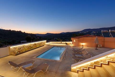 Georgioupoli Studio 3  with a pool and lake view!