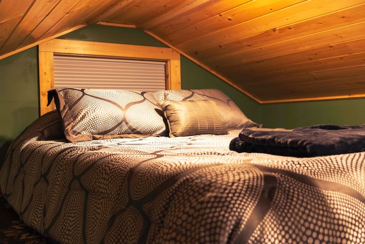 Climb the ship style ladder to reach the super comfy and cozy sleeping loft.