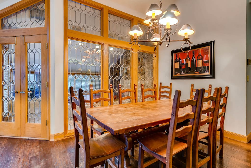 Entertain and enjoy meals together at the dining room table.