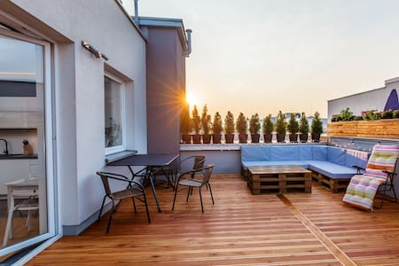 June's 38% Discount!100 m2 with huge terrace! - 克拉科夫 - 公寓