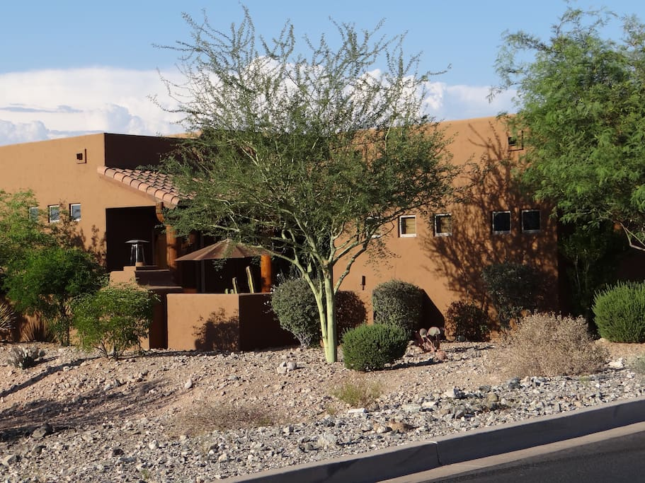 Side view of property. Casita is on right, main house (where my husband and I live) is on left.