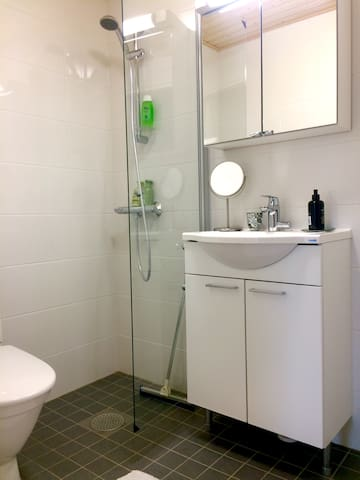 Spacious bathroom with towels and shower products