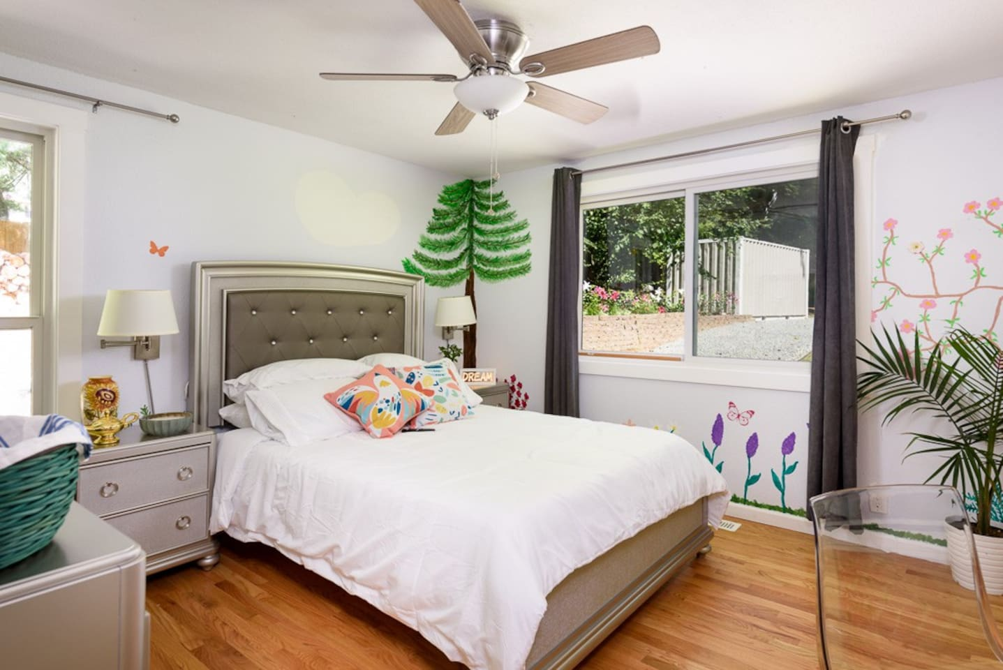 Princess Room has been hand-painted by family artists and reflects the Pacific Northwest. All rooms feature Voice Bot Technology, turn on music, make a call, change the light's color, set alarms, also FREE DYI smoothies, breakfast & coffee/Tea Bar