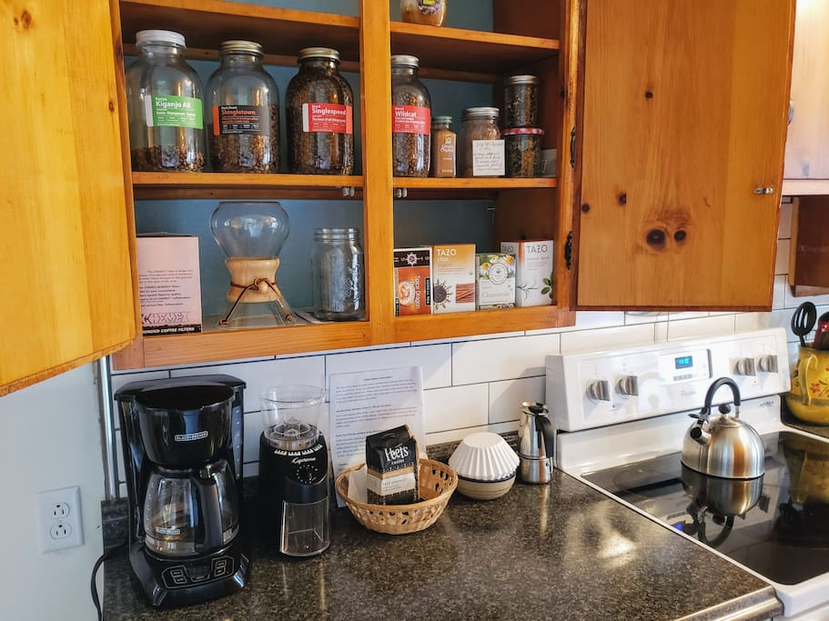 Welcome to the coffee shop!  The kitchen is stocked with local Rothrock coffee and a good selection of teas.