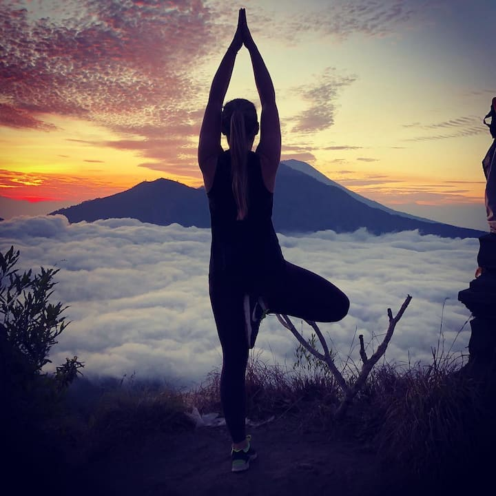 Yoga on top of mount batur