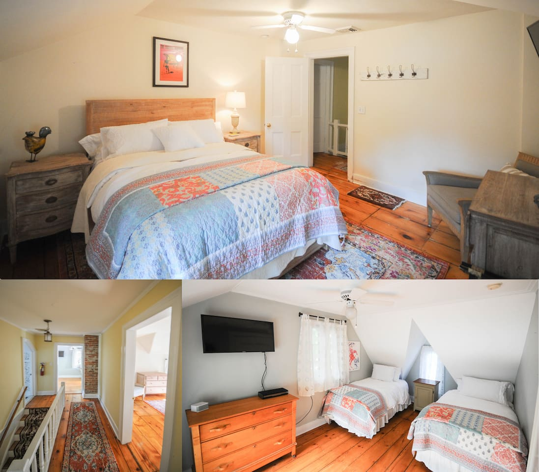 Queen BR + Twin BR. Private Upstairs 2BR with shared full bath