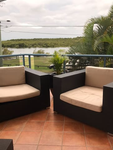 Front balcony with wonderful views and bay breezes.