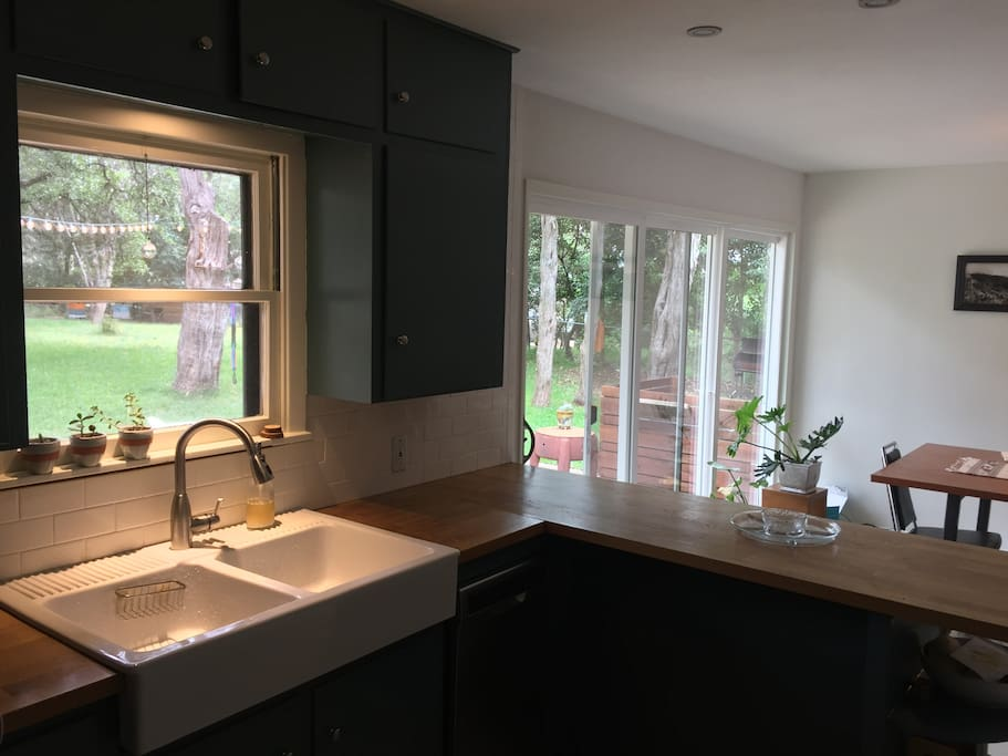 From kitchen into dining room.
