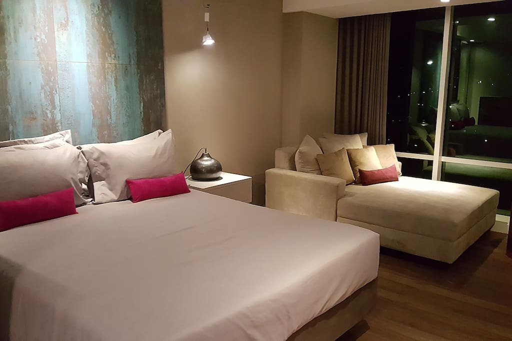 The bed with warm atmosphere