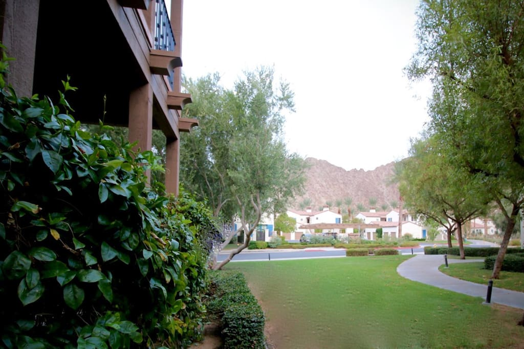 Expansive lawn and mountain view from main patio. Lots of breathing room!