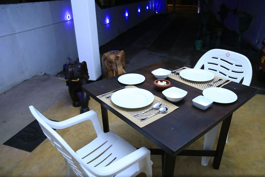 The sea house table is awaiting to serve sea foods for our guests