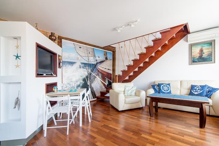 Captain's apartment, sunny, 70sq m, 2 levels
