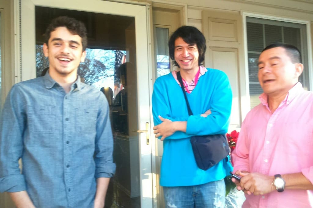 People from three different countries became friends at our house.
