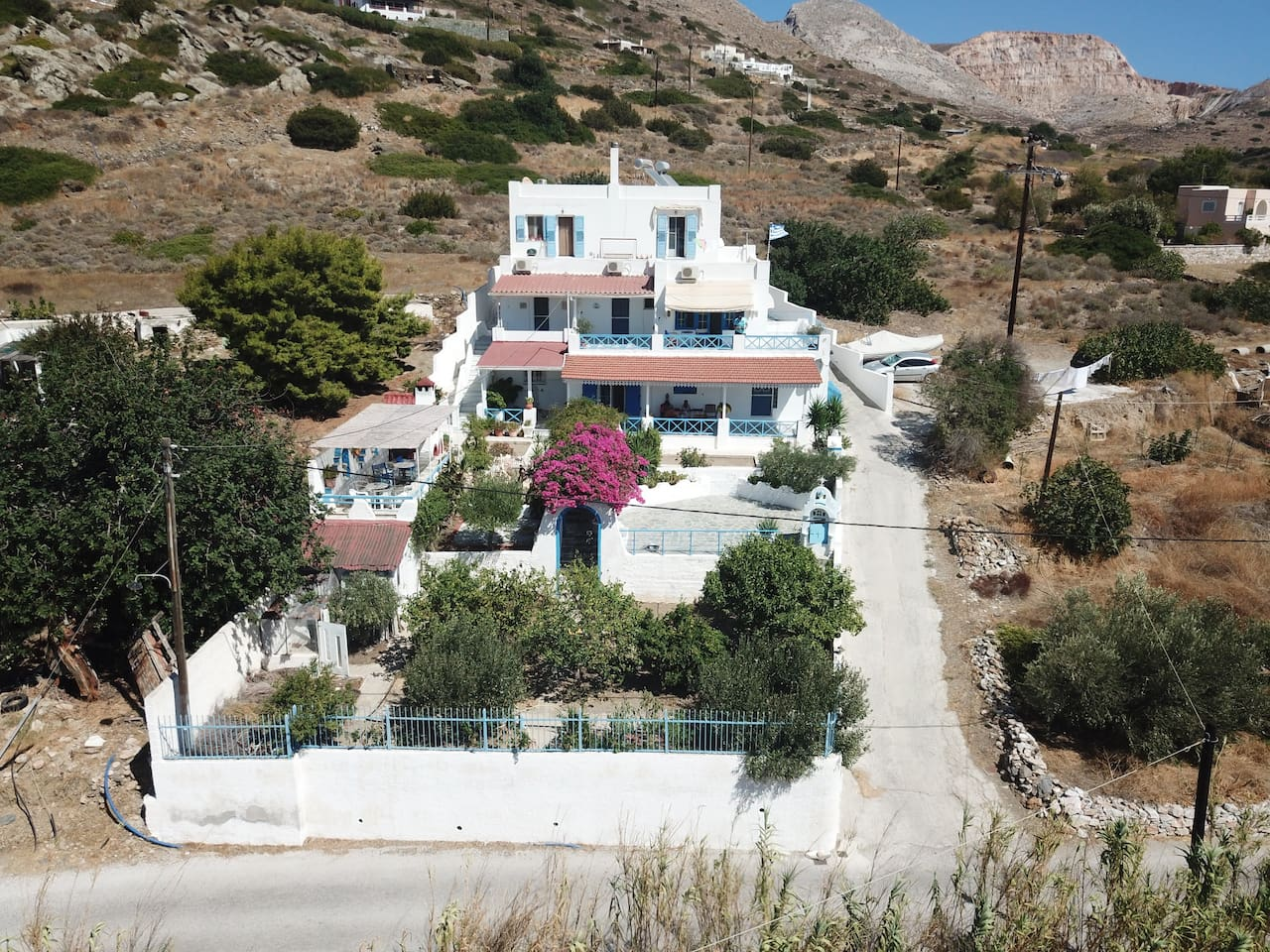 """external photo of the """"2 beaches country house"""" in Syros island, Greece"""