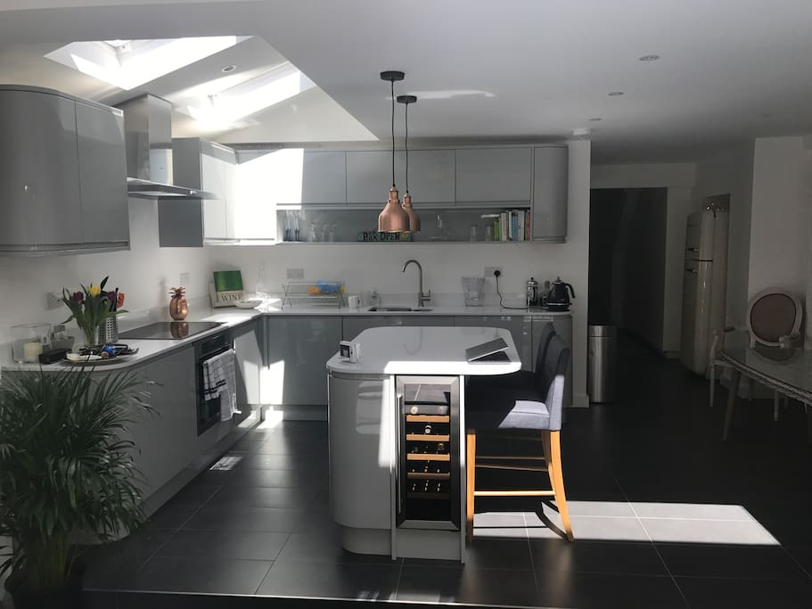 Open plan kitchen with wine fridges, dish washer and induction hob oven
