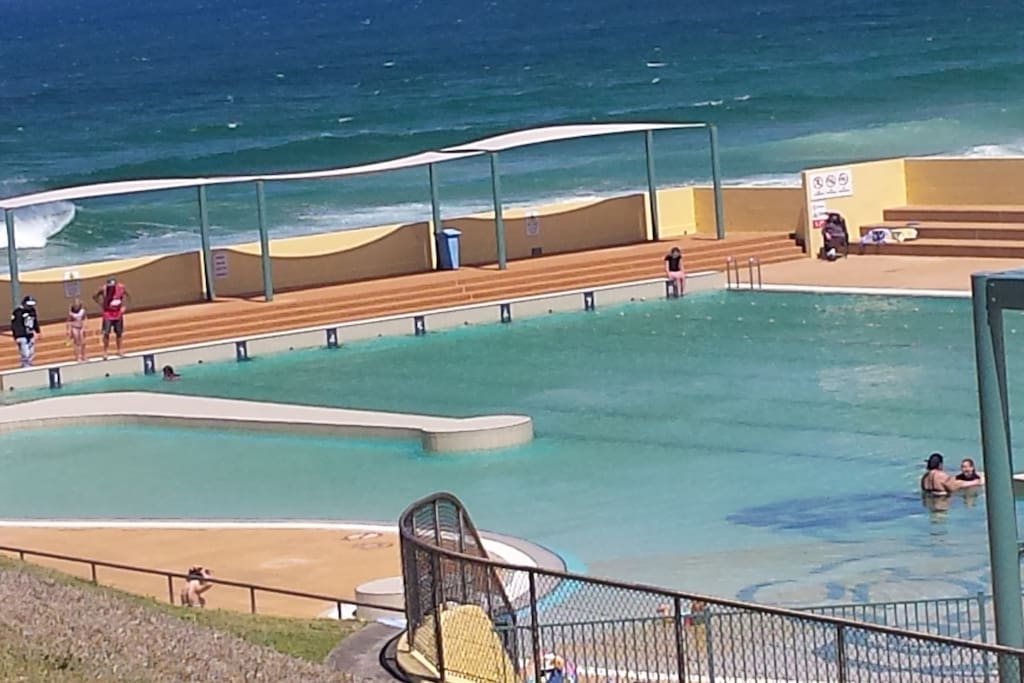 Port Kembla sea water pool, 6 minute drive away.