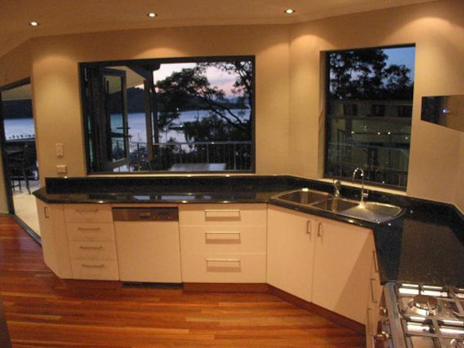 Views overlooking the marina from the kitchen