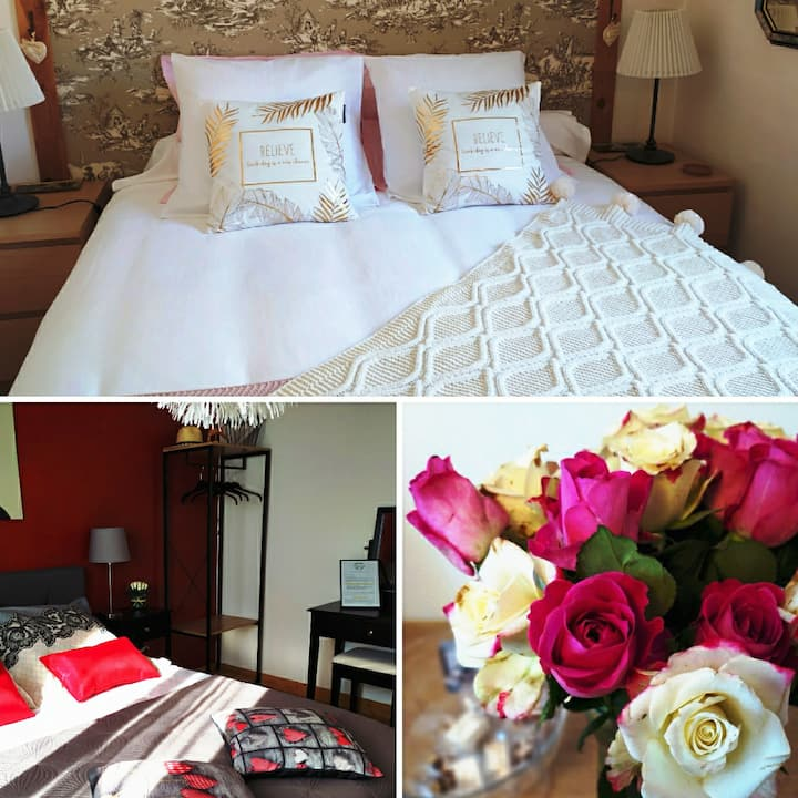 2 Pretty Cocooning Bedrooms and 1 Bathroom