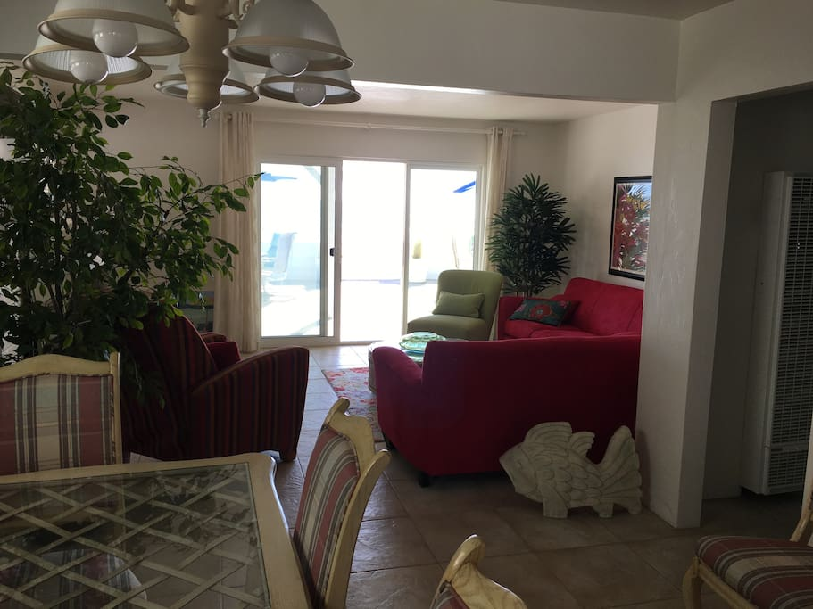 Looking from the Dining Area out through the Living Room to the Beach