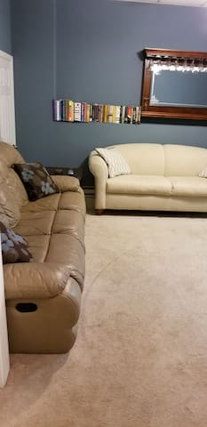 Guest living room with extra queen size couch bed closed