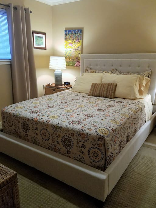 Blackout draperies change a sunny room to a dark and cozy room, when desired.