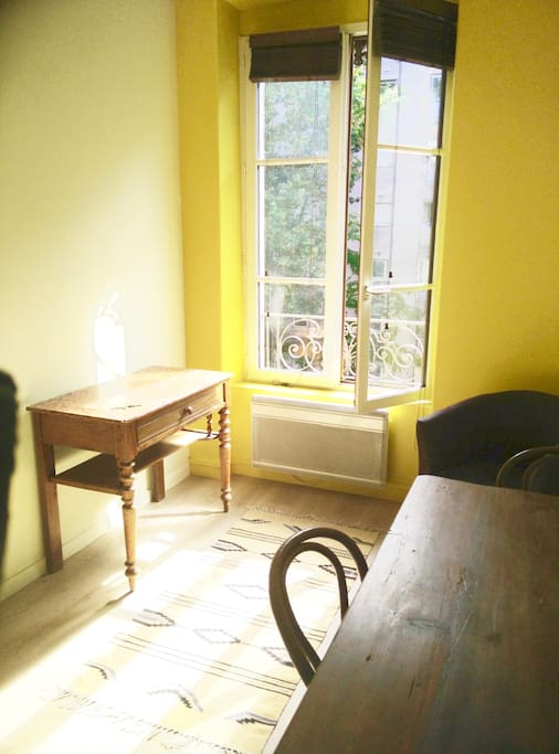 Desk , electric heating, big window with double glazing
