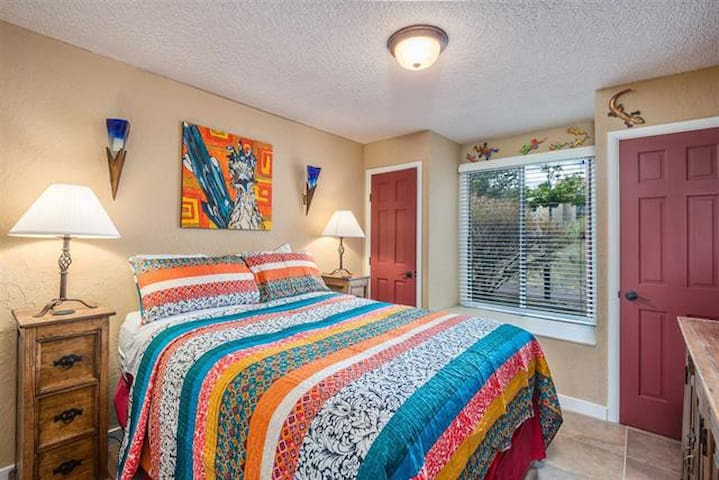 Queen size mattress in our master bedroom complete with a jacuzzi tub and master bathroom.