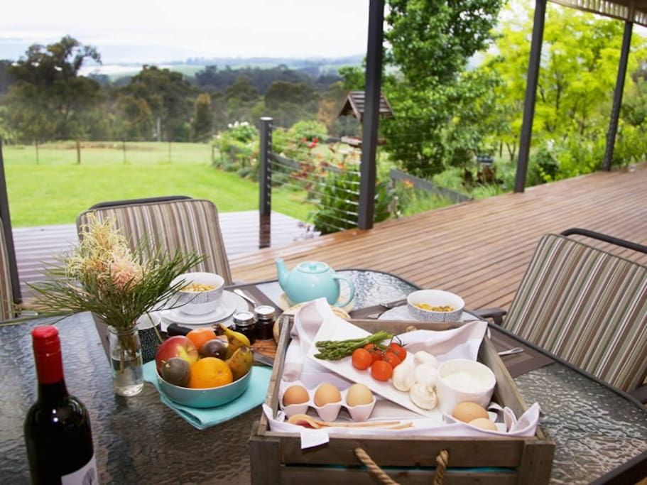 Relax on the deck and enjoy a sumptuous breakfast tailored to your individual needs.