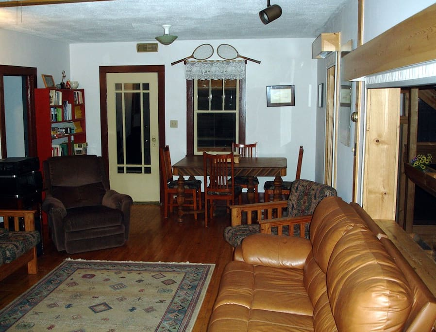 Central living room, spa is to the right in the sunroom.