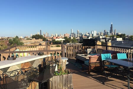 Private BR/BA for Chicago traveler w/rooftop - Chicago - Apartment