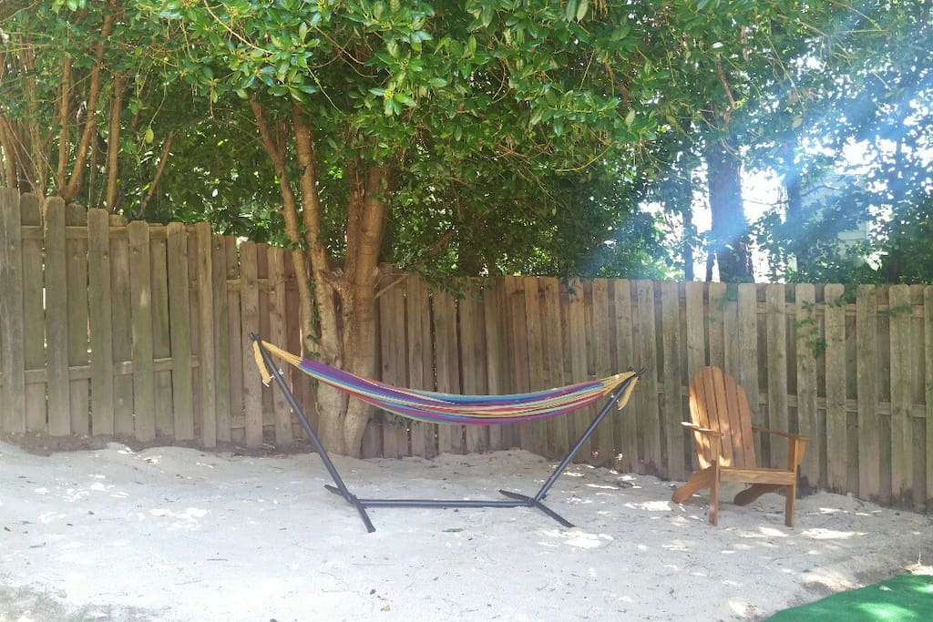 Nap time Anyone???     Enjoy the Hammock-Sandpit Oasis in the Backyard