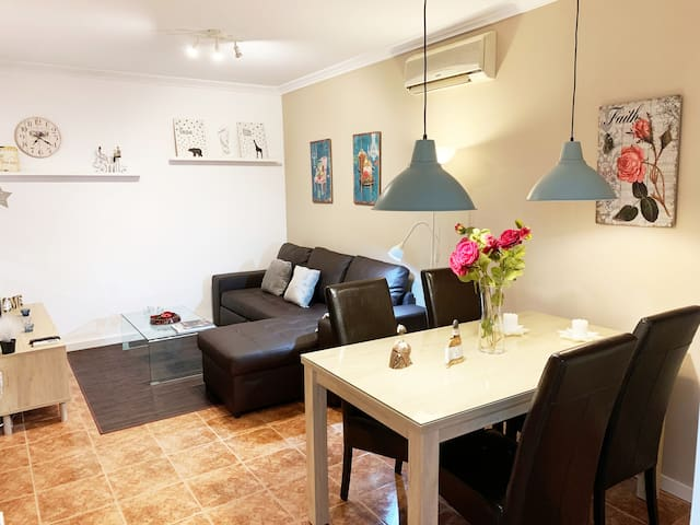 Central apartment with private barbecue.