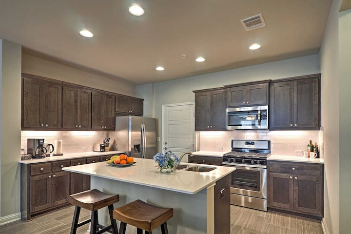 Enjoy the 1,916-square-foot interior furnished with brand new appliances.