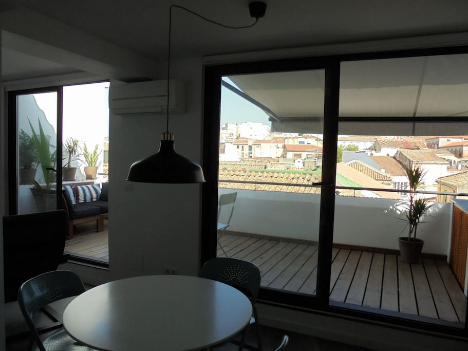 View from dining area to terrace