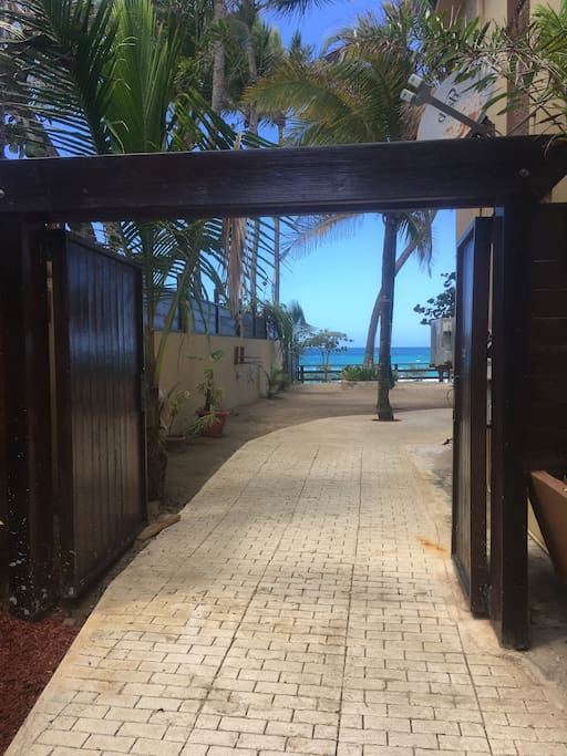 Wedding or event entrance to the private beachfront courtyard