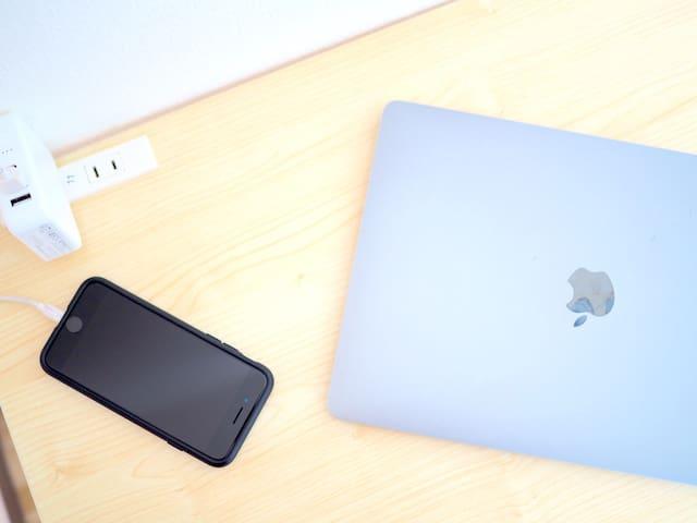 Work table with plug