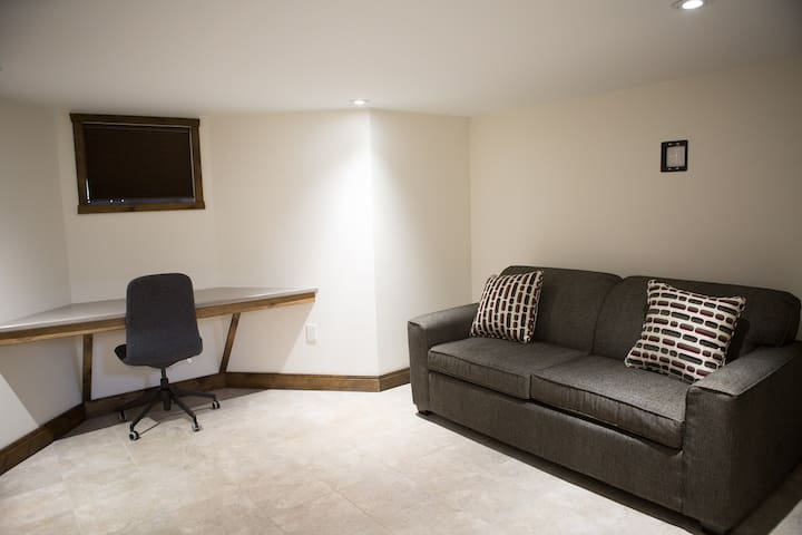 Common Area | rear basement . pull-out couch . desk
