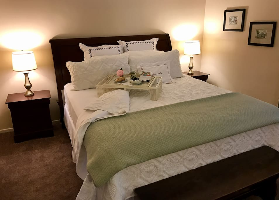 Master bedroom with king size bed & walk-in closet