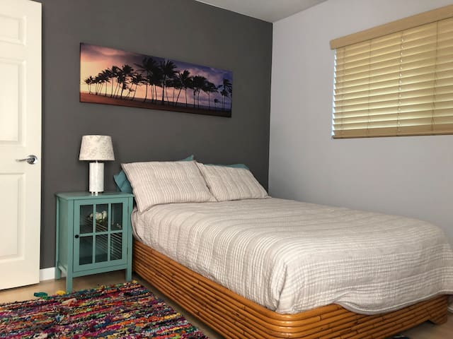 You'll be sleeping on a vintage bamboo bed frame with brand new full size mattress