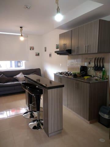 Aparta estudio: cocina, barra comedor y confortable sofacama