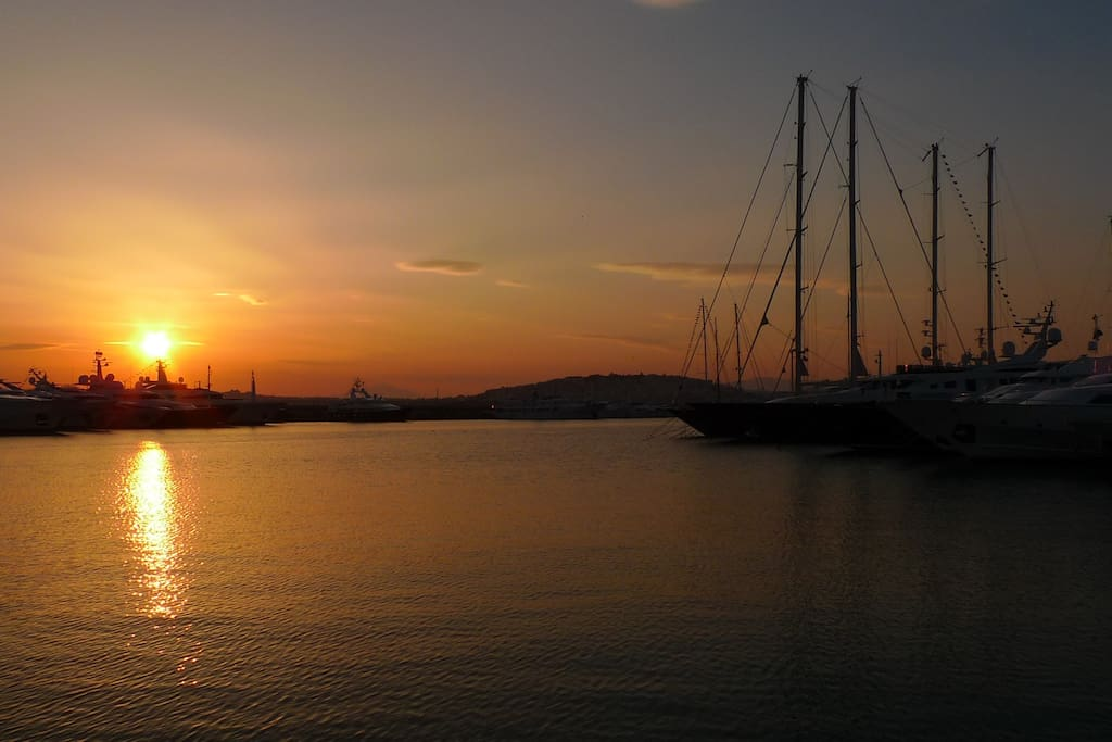 Enjoy beautiful sunsets in the nearby marina all year long