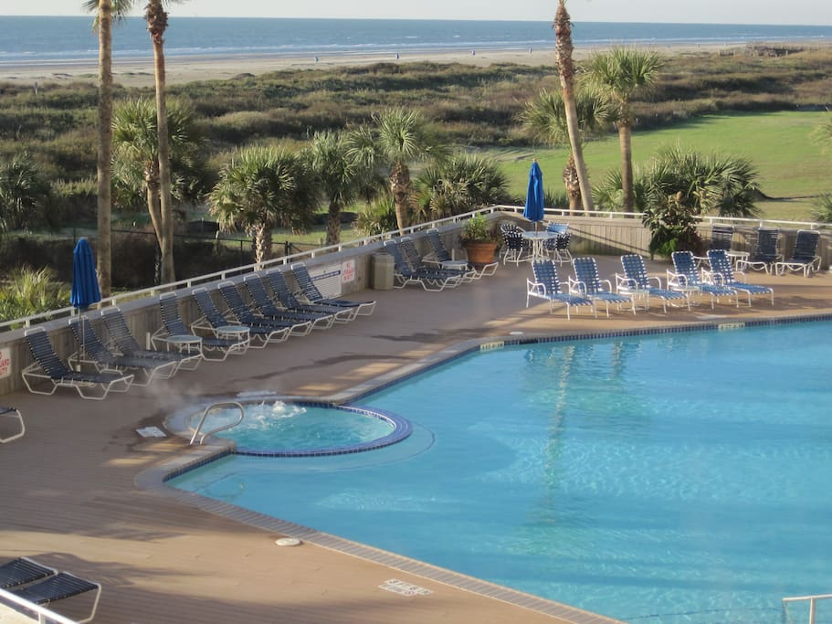 Beach side hot tub and heated pool are waiting for you!