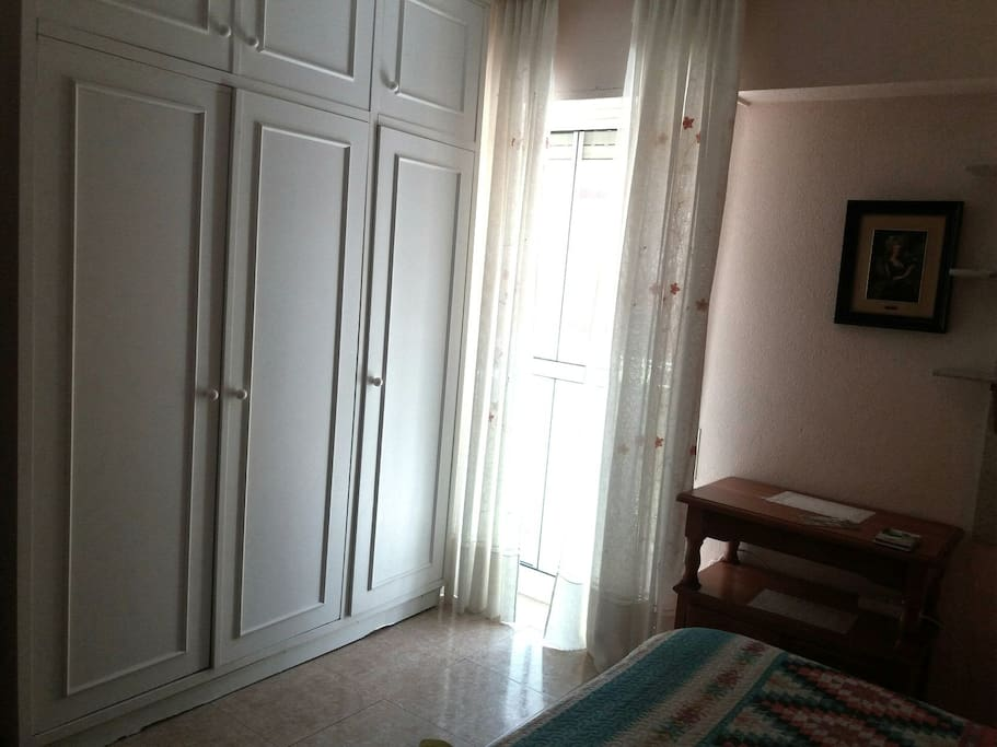 Large closet. balcony with smoking option ... room equipped with bed linen