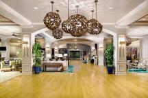 Lobby area with 24/7 customer service staff