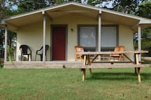 Our large studio comes complete with a kitchen and living area with the most mesmerizing view of Bull Shoals Lake